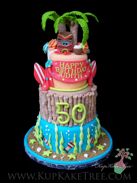 Pleasing Hawaiian Themed Birthday Cake A Photo On Flickriver Funny Birthday Cards Online Overcheapnameinfo