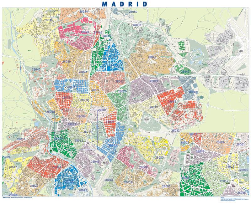 Mapa Codigos Postales Madrid.Madrid Codigos Postales Mapa De Pared Tamano Mural De Mad