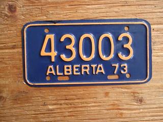 ALBERTA 1973 ---MOTORCYCLE PLATE 43003
