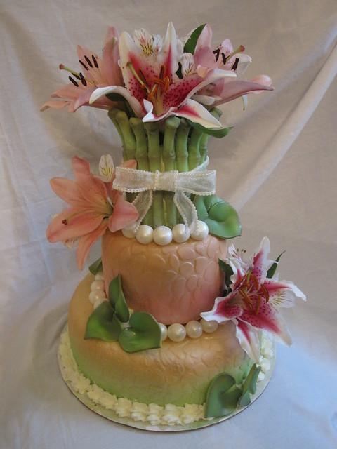 Elegant hawaiin theme wedding shower cake
