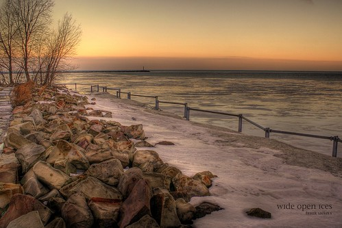 winter ohio ice pier cleveland hdr east55th e55thstreetpier