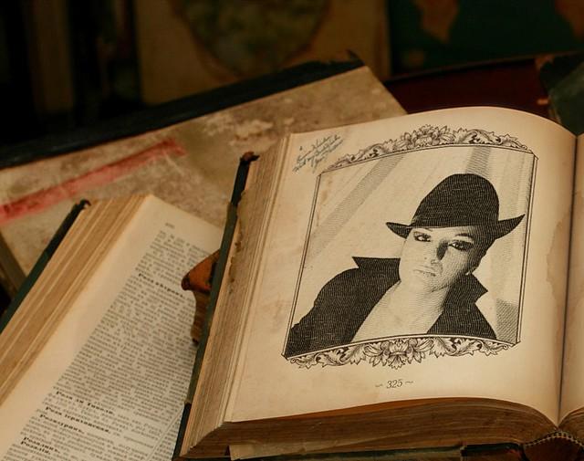 Girlfriend on old book (Photofunia)