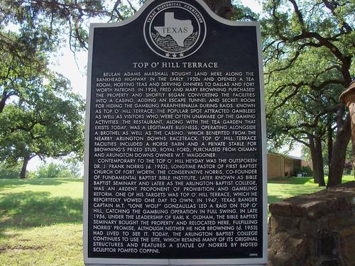 Top O Hill Terrace Arlington Texas Historical Marker