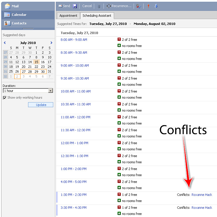 Outlook web scheduling conflicts