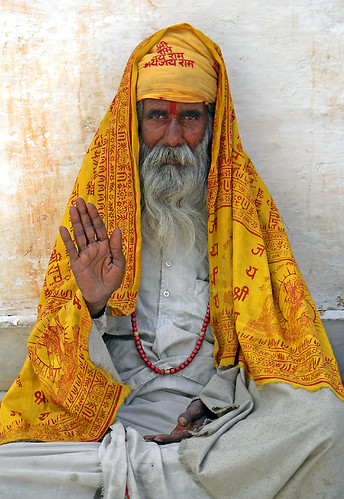 holyman dispelling fear and offering benediction