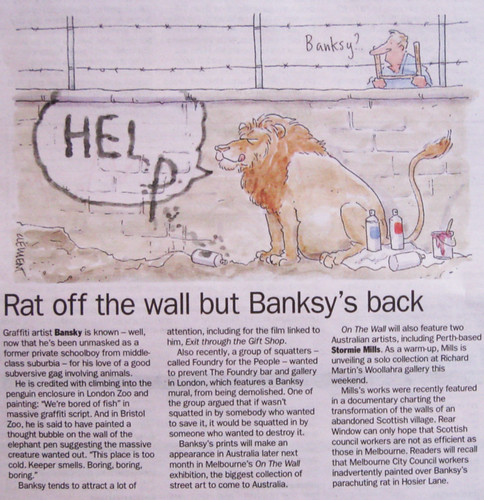 Rod Clement imagines a Banksy cartoon involving lions | by Newtown grafitti