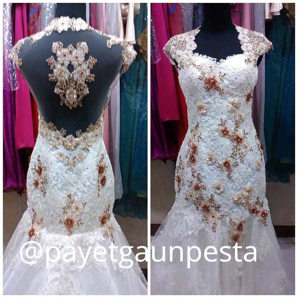 baju pengantin backless brokat ivory aplikasi caramel