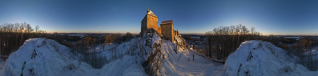 Sunrise panorama at Burg Hohenstein January 2017 - ultra wide view