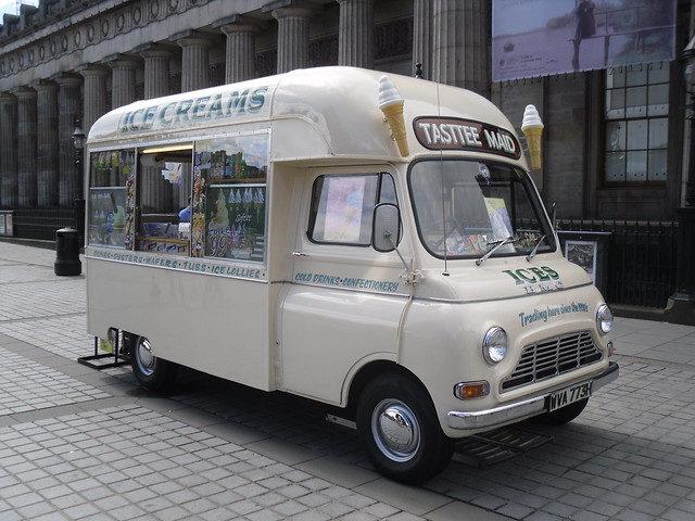 wva773h A cracking B.M.C  still going strong selling ice cream on princess street edinburgh
