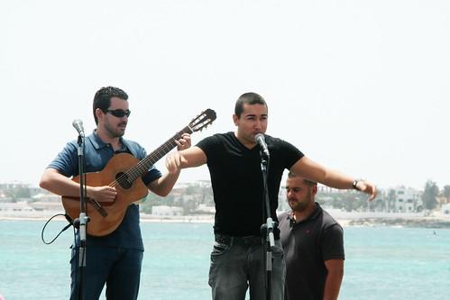 David Pablos con el poeta David Rodríguez