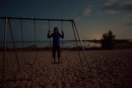 life travel people nature playground mi stars landscape outdoors person michigan pointofview human environment moonlight swingset milkyway oldmission penisula starscape