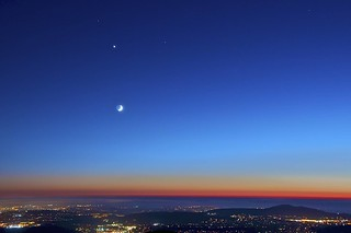 Moon And 4 Planets Mars Venus Saturn And The Crescent