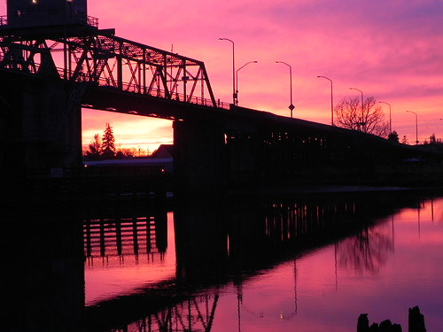 bridge sunset river hoquiam
