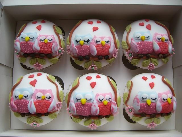 Valentine/Anniversary Owl Cupcakes