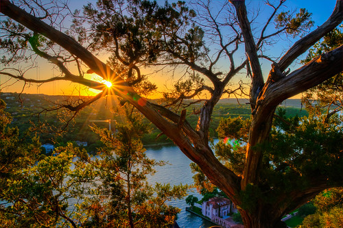 sunset sun austin texas austintexas colorado river coloradoriver mount bonnell mountbonnell hdr nature