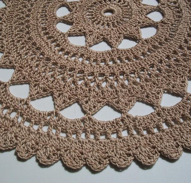 Tea-Dyed Thread Crochet Doily in Rich Beige