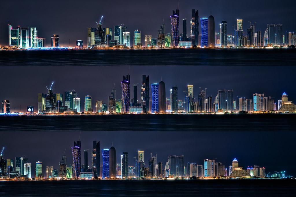 Doha Night Skyline by christian.senger