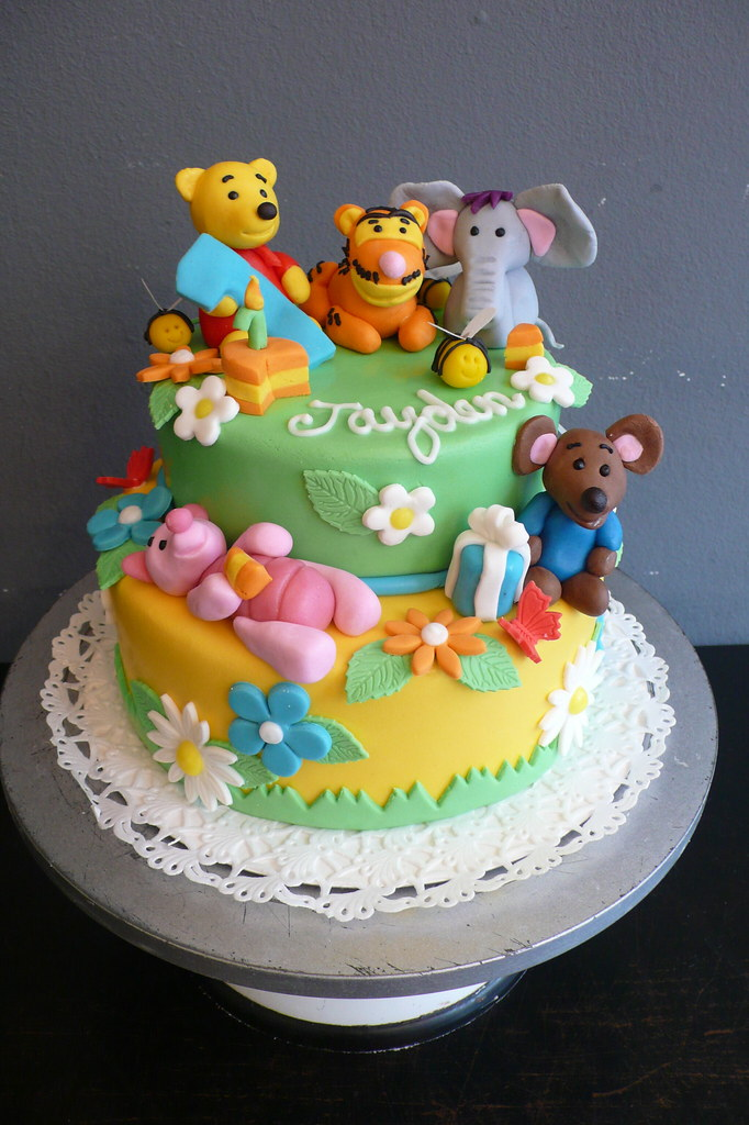 Terrific Winnie The Pooh Birthday Cake 1St Birthday Cake With A Win Flickr Funny Birthday Cards Online Alyptdamsfinfo