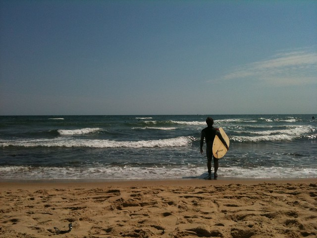 Ditch Plains, Montauk, surfer, beach