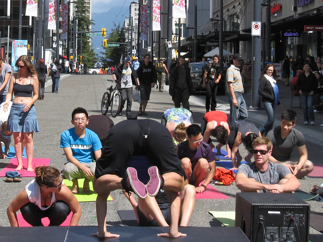 Noon yoga class on Granville