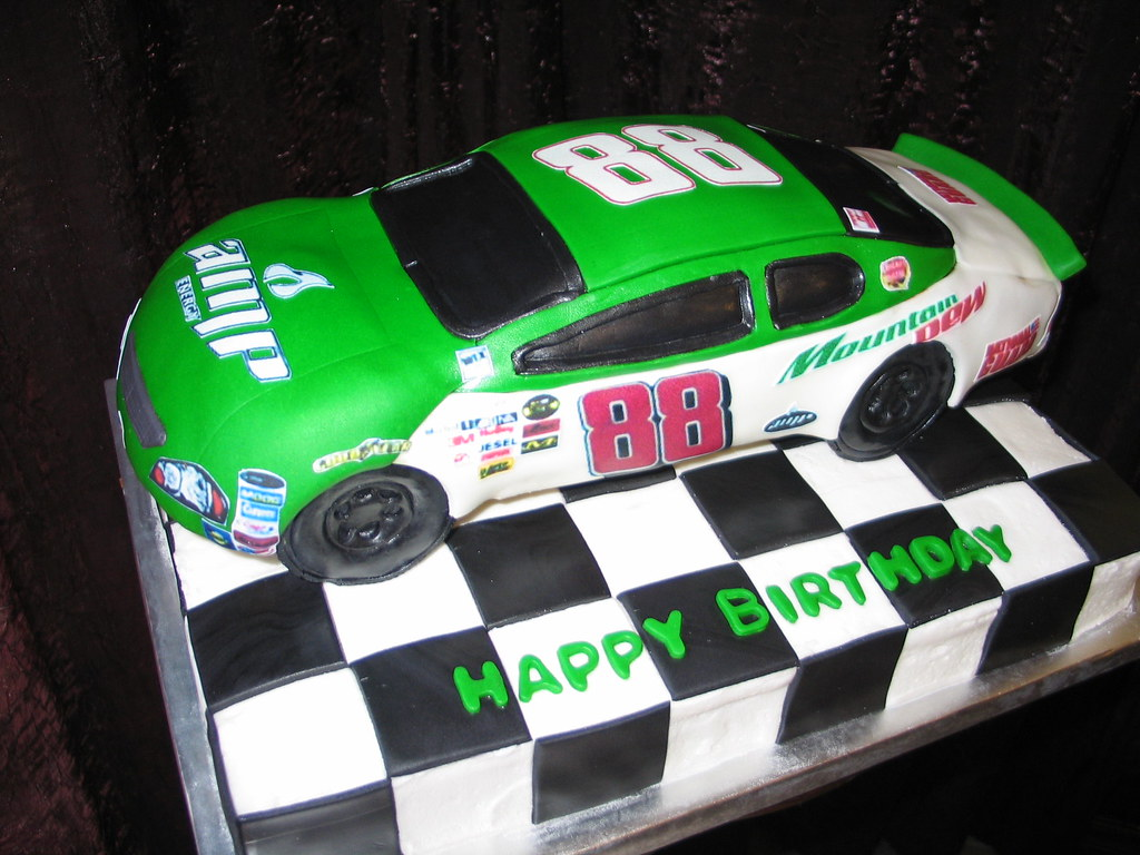 Marvelous Nascar Birthday Cake This Fondant Covered Race Car Cake Is Flickr Funny Birthday Cards Online Elaedamsfinfo