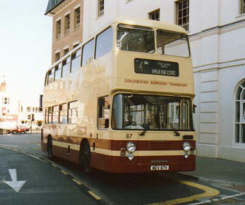 87, MEV 87V, Leyland Atlantean (1), ECW Body H43-31F, 1980 (Colchester BT) (t.1991)