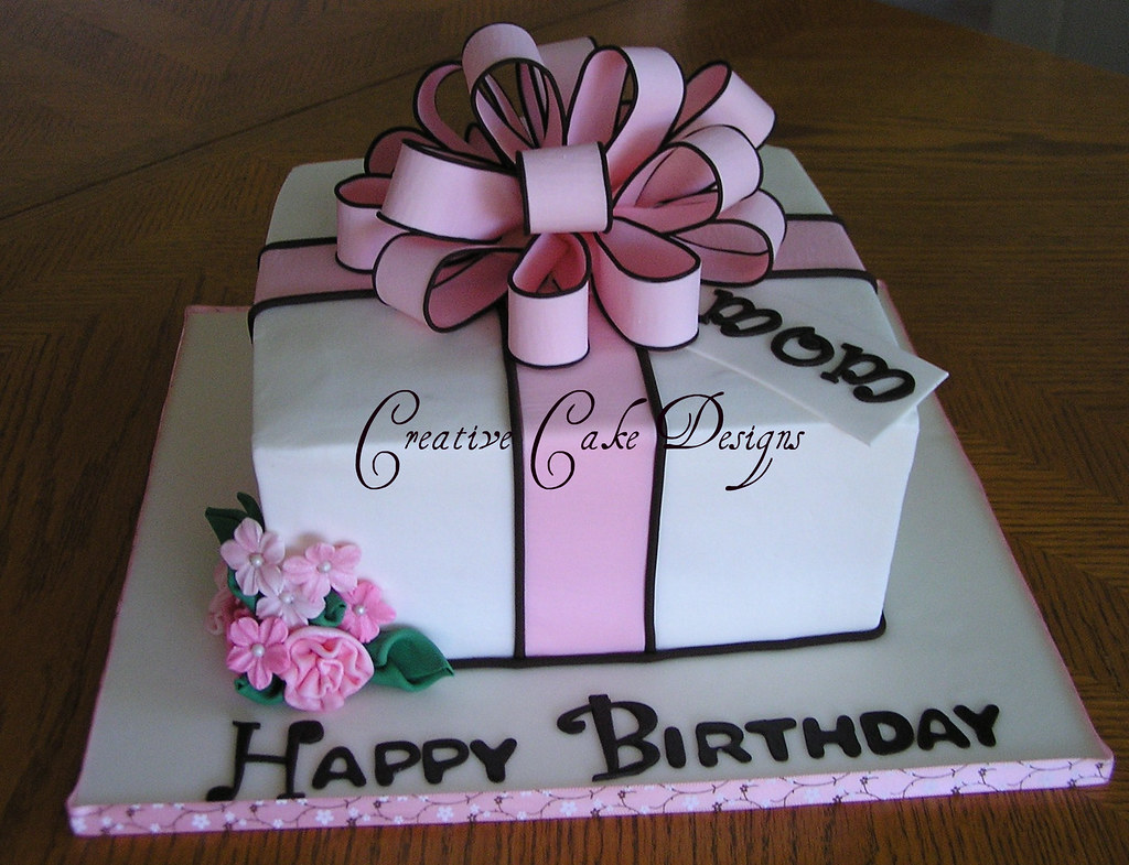 Stupendous Pink Present Cake In Buttercream The Second Of Five Cake O Flickr Funny Birthday Cards Online Drosicarndamsfinfo