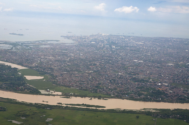 Jeneberang River cuts through Makassar
