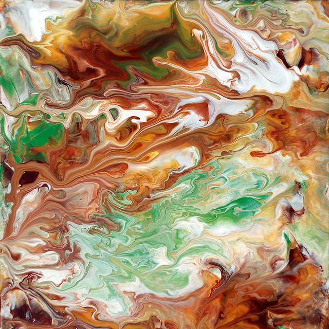 Abstract Fluid Painting Brown & Green