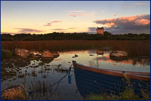 ireland sunset castle galway boat rocks 1001nights 14thcentury annaghdown loughcorrib oflahertyclan annaghdowncastle theferociousoflaherties