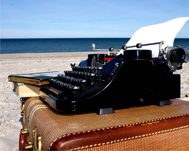 typewriter on the beach 10 x 8