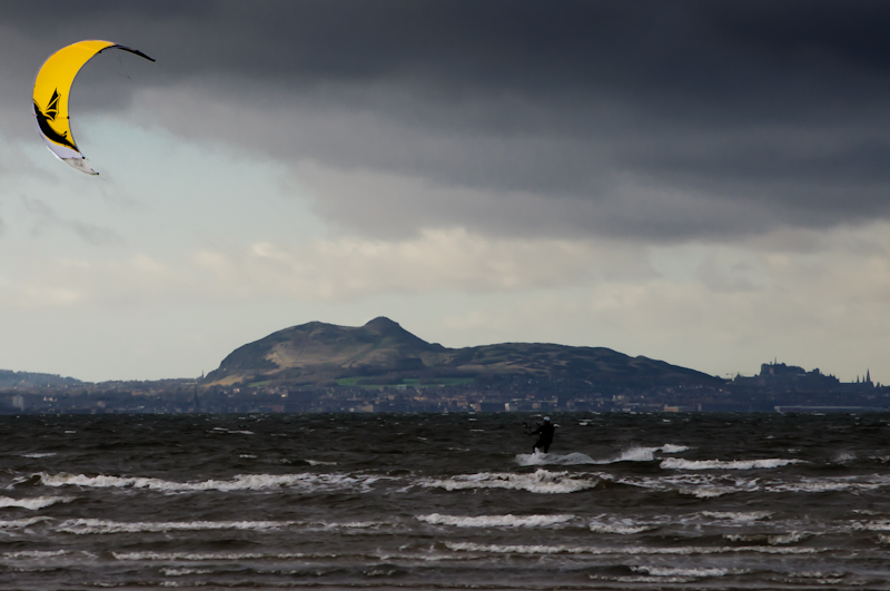 Windsurfer over Edinburgh