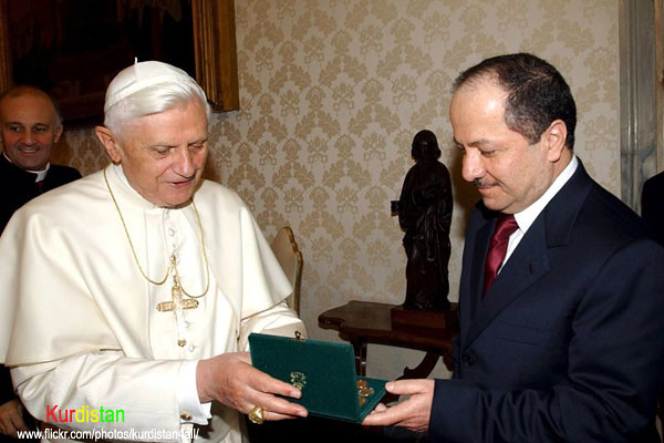 president Masoud Barzani visited the Vatican Pope Benedict XVI   The Holy Father