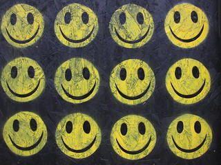 Ben Eine - The Strangest Week : Smiley Faces / Acid House Faces - Hackney Road / Diss Street, London E2 | by bobaliciouslondon