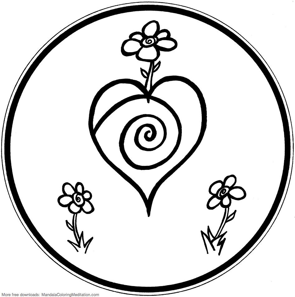 Printable children coloring page: flower heart mandala 2 ...
