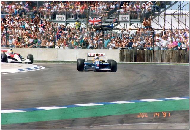 Nigel Mansell Williams Renault FW14 F1.1991 British GP Silverstone.
