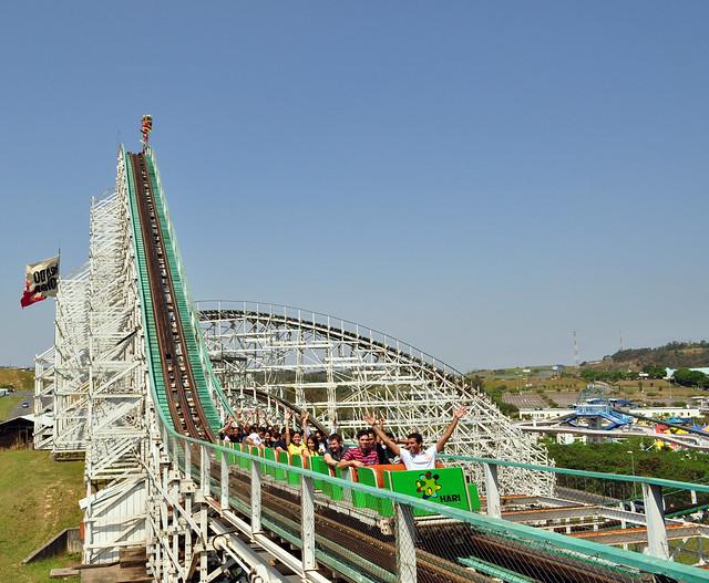 Wood Roller Coaster in back.