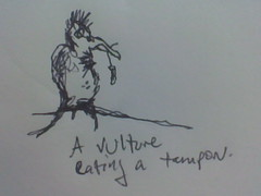 A Vulture Eating a Tampon