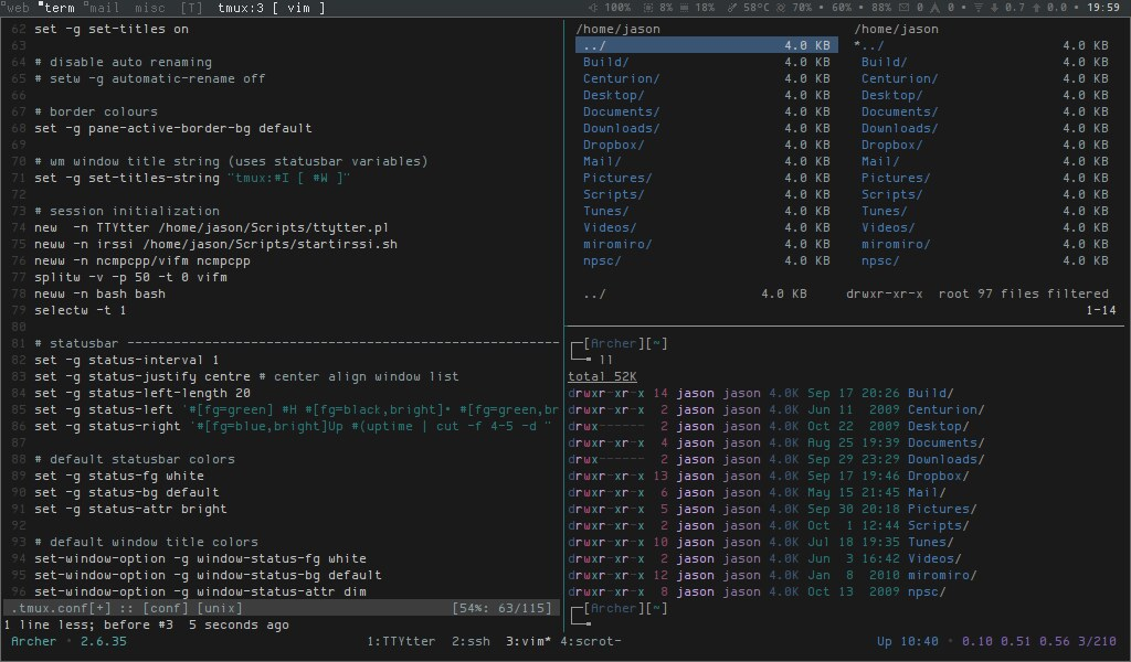 Sessions in tmux   Ilustration for a post on how to initiali
