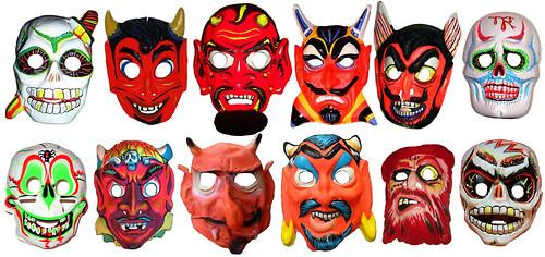 Halloween Jason Mask Cartoon.Vintage Halloween Masks Jason Santa Maria