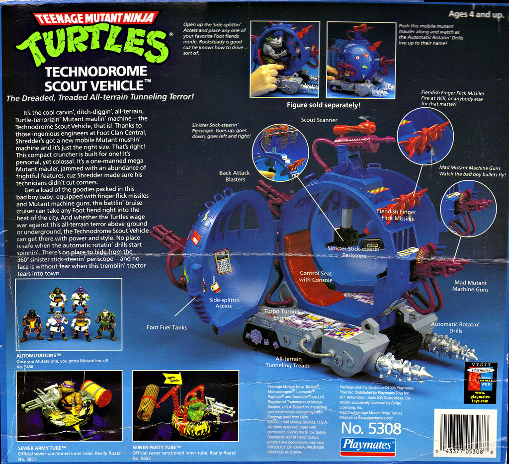 """TEENAGE MUTANT NINJA TURTLES :: """"Technodrome Scout Vehicle"""" { 1993 } KB Toys Reissue ii  (( 1998 )) by tOkKa"""
