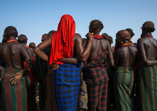 Women during the proud ox ceremony in Dassanech tribe, Omo valley, Omorate, Ethiopia