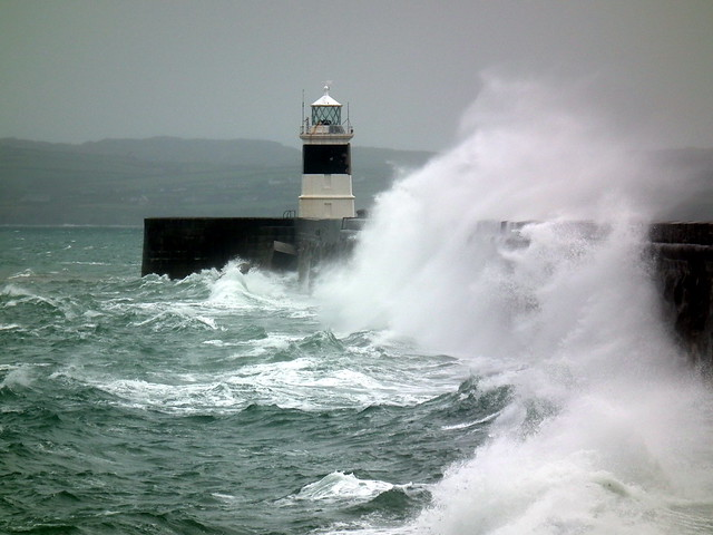 Lighthouse Holyhead Anglesey During Violent Storm