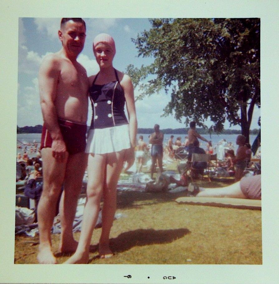 77661a787a ... 1961 Shirtless Dad Man Swim Trunks With Daughter Swimsuit Swim Cap 1960s  vintage photo | by