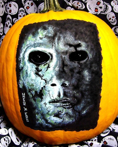 Michael Myers 'Halloween' pumpkin painting by Denise A. Wells