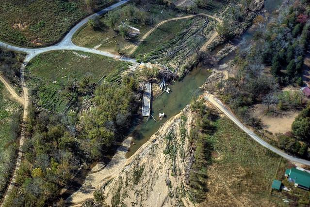 Destroyed Blackburn Fork Hwy Bridge, Blackburn Fork Creek, Jackson Co, TN