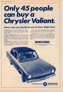 1967 Chrysler VC Valiant ad (UK)