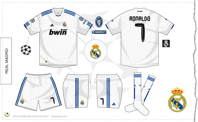 buy popular a4f76 05b93 Real Madrid Champions League home kit 2010/2011 | Sergio ...