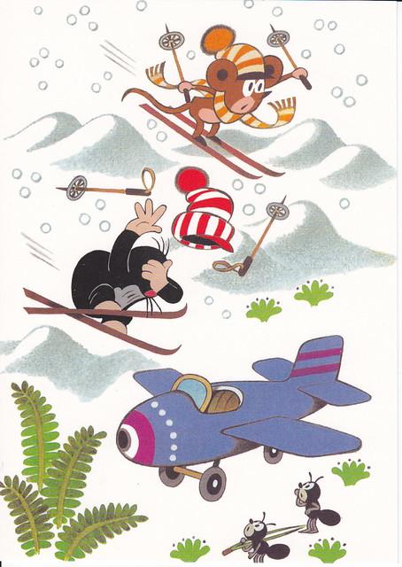 Krtek Skiing Postcard