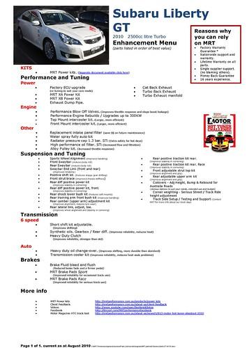 EcuTek - Subaru Liberty GT MY 2010 - 2011 Turbo Dyno Graph